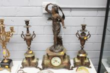 French figural mantle clock and garnitures, of a maiden, signed to base, has key (in office) and pendulum, approx 60cm H (3)