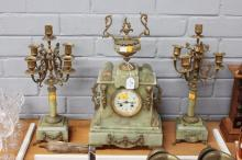 Antique French mantle clock and garnitures, has key (in office) and pendulum, clock approx 50cm H x 31cm W x 16cm D (3)