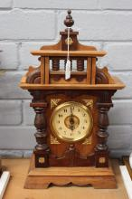 Antique French walnut musical alarm clock, has key (in office) running, approx 44cm H x 25cm W x 12cm D