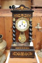 French Napoleon III clock, no key, has pendulum, approx 54cm H