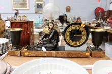 French Art Deco Mantle clock & garnitures, no key, has pendulum, approx 27cm H x 51cm W (3)