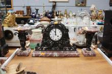 Art Deco wrought iron & marble mantle clock & garnitures, approx 30cm H x 40cm W (3)
