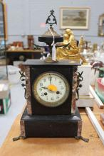 Antique Napoleon III clock, has key in office, no pendulum, approx 41cm H x 25cm W x 13cm D