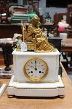 Antique French marble figural clock, of mother and child, has pendulum (in office), approx 37cm H x 27cm W