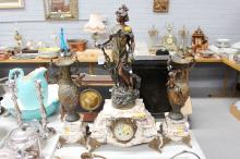Antique French figural Mantle clock & garnitures, maiden to clock and Putto to garnitures,