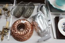 Jelly moulds and two silver plate wine baskets, approx 26cm dia & smaller (5)