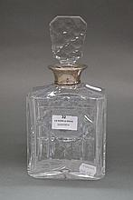 HMSS collared cut crystal decanter, approx 24.5cm