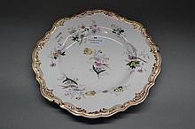 Spode plate hand-painted mauve birds, circa 1820s.
