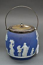 Antique blue jasper plate mounted biscuit barrel,