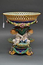 Antique Wedgwood majolica triple cherub table