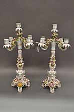 Pair of antique Dresden porcelain five stick