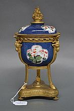 Antique Chinese speckle blue ground lidded pot