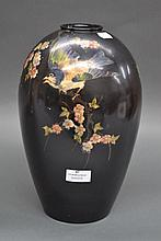Large Bretby vase decorated with birds & flowers,