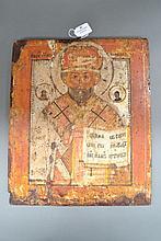 Antique Russian Saint Nicholas icon, 38.5 x 32 cm