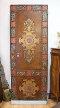 Antique French Renaissance revival embossed leather double sided door, hand coloured embossed decoration. With studded trim, original hardware and hinges, approx 224cm x 83cm