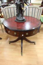 Rare Antique Regency 1830s red tooled leather topped drum table with ebony inlay , JS Lewis & Son, labelled underneath, purchased from Bronson Road 1943, approx 73cm H x 84cm dia