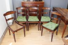 Set of five fine antique satinwood inlaid & rosewood chairs, fan and scoll inlaid backs and inlaid tableture centre bars, all standing on turned fluted legs, displaying the quality of Gillows (5)