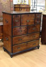 Antique 19th Century Chinese export Campaign secretaire chest, approx 108cm H x 98cm W x 47cm D