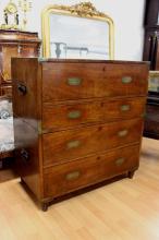 Antique 1840s Campaign secretaire chest, with T. Parsons lock, approx 99cm H x 91cm W x 49cm D