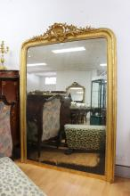 Large French gilt surround mirror, with pierced Shell and foliage central crest, approx 177cm H x 128cm W