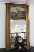 Vintage French trumeau mirror, painted and gilt surround frame, approx 168cm H x 97cm W
