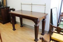 Rare Antique 1830s William IV Holland & Son serving table with turned brass rail to back, stamped to the bottom, Ex Isle of Wight, Osbourne House, J Hawkins, approx 87cm H x 145cm W x 68cm D