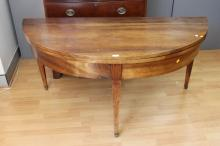 Impressive & large scale antique French walnut demi-lune fold over dining table, standing on square tapering legs, approx 74cm H x 150cm W x 68cm D (closed)