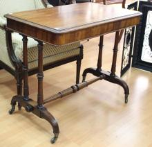 Antique 1840s Library table labelled underneath T & G Seddon, originally purchased in Grays Inn Road London, approx 77cm H x 91cm W x 56cm D