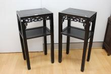 Pair of antique Qing Dynasty Chinese Zitan hardwood stands, each approx 81cm H x 42cm W x 31cm D (2)