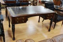 Fine rare antique tooled leather topped desk by T & G Seddon, approx 76cm H x 137cm W x 83cm D