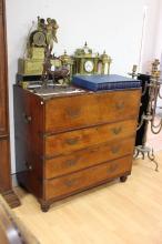 Antique 1830s Anglo Indian secretaire campaign chest, approx 102cm H x 106cm W x 56cm D