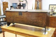 Antique English 16th century Welsh oak plank coffer, Ex Anglesey Island, approx 59cm H x 145cm W x 46cm D (Split to lid)