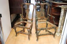 Pair of antique 18th century Italian chairs, comprising of an arm chair and side chair, distressed painted gesso, in the Queen Anne design, vase shaped backs, cabriole pad foot legs (2)