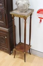 Antique French marble topped jardinere stand, approx 101cm H x 30cm sq