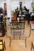 Antique French brass framed cradle, with Shepherd crook net holder, approx 170cm H x 110cm W
