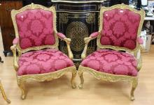 Pair of impressive French Louis XV style gilt framed armchairs, approx 108cm H x 75cm W