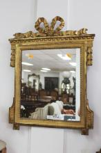 Antique French 19th century pier mirror, ribboned tied crest, approx 76cm H x 55cm W