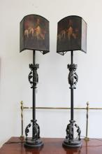 Pair of ornate lamps with painted shades, each approx 110cm H (2)