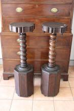 Pair of antique French rosewood Renaissance revival brass inlaid pedestals, each with octagonal bases with central barley twist supports, each approx 112cm H (2)