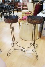 Pair of antique French tole jardinieres decorated with Griffins, standing on later metal worked bases, each approx 83cm H (2)