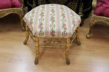 Rare antique French giltwood faux bamboo hexagonal shaped boudior stool, approx 44cm H x 58cm dia