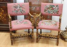 Pair of antique French Renaissance revival barley twist arm chairs, each with full lion finials to the arms (2)