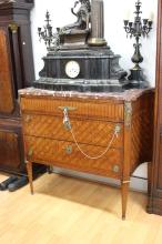 Fine French parquetry commode with marble top & canted inlaid sides displaying fine parquetry front, approx 94cm H x 110cm W x 48cm D
