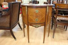 Fine antique French demi lune two drawers salon table, with bronze mounts, approx 84cm H x 70cm W x 34cm D