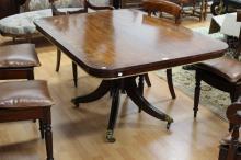 Antique 1820s Regency tilt top table, with parcel gilt decoration, Aldury Gate Street, Ex Tasmanian Collection, approx 72cm H x 138cm W x 102cm D