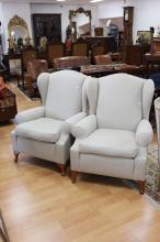 Pair of vintage beige upholstered wing armchairs (2)