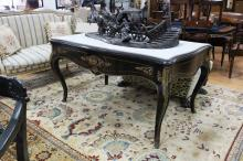 Impressive antique 19th century French ebonized white marble inset topped salon table, with bronze mounts, approx 74cm H x 144cm W x 89cm D