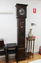 Antique French long case clock, carved oak trunk and hood, approx 233cm H