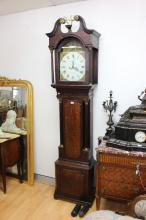 Antique English long case clock, painted dial & marked for Arnold & Bennett London, case and hood in oak & mahogany, arched painted dial, sub seconds with calendar aperture, key (in office), approx 244cm H (needs some restoration)