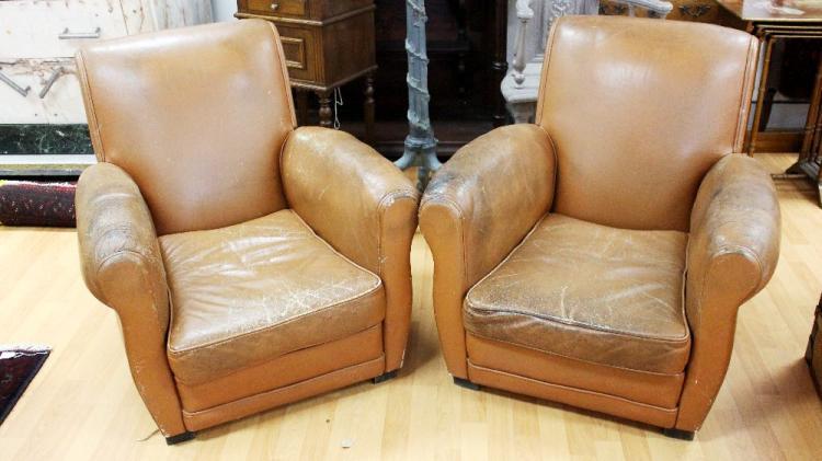 Pair of art deco tan leather lounge armchairs with wooden sq - Deco lounge grijs en beige ...